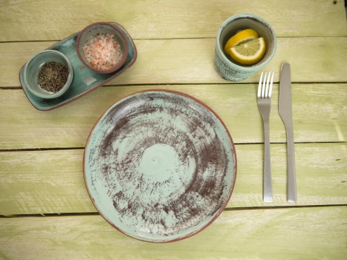 round plate with cruet and beaker, on table,Weathered Range,SKnight