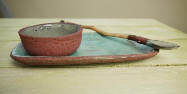 cruet with spoon, side view,Stoneware,Slip and glaze,Weathered Range,SKnight