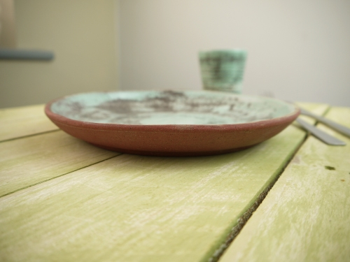 round plate, side view with beaker, on table,Stoneware,Slip and glaze,Weathered Range,SKnight