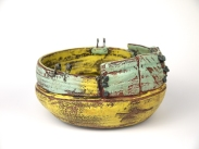 Weateherd bowl1,Thrown and altered, ceramic,slip,oxides,glaze,metal