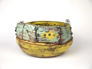 Weateherd bowl1,Thrown and altered,, ceramic,slip,oxides,glaze,metal