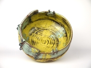 Weateherd bowl1,Thrown and altered,inside, ceramic,slip,oxides,glaze,metal