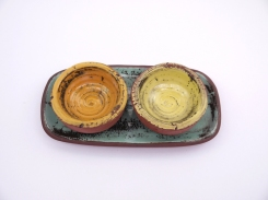 cruet set-turquoise +orange and yellow dip bowls